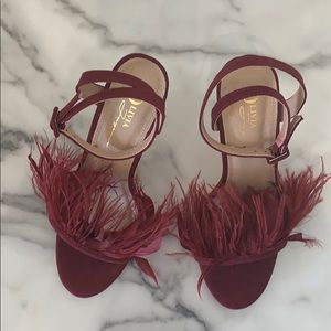 Feather Ankle wrapped heel/burgundy